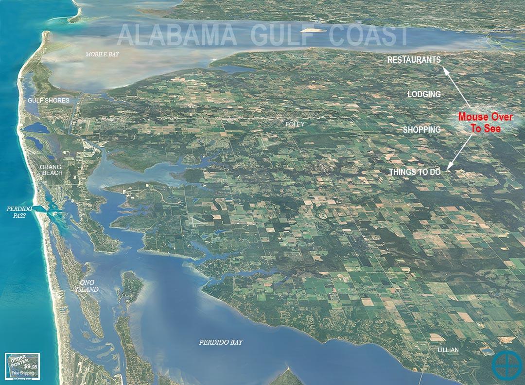 Alabama Gulf Coast MapAlabama Gulf Coast Aerial Photo