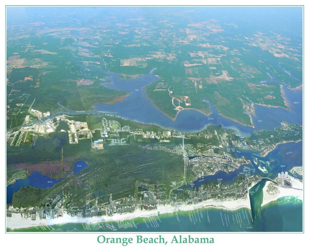 Orange Beach Alabama Aerial Photo Poster Map