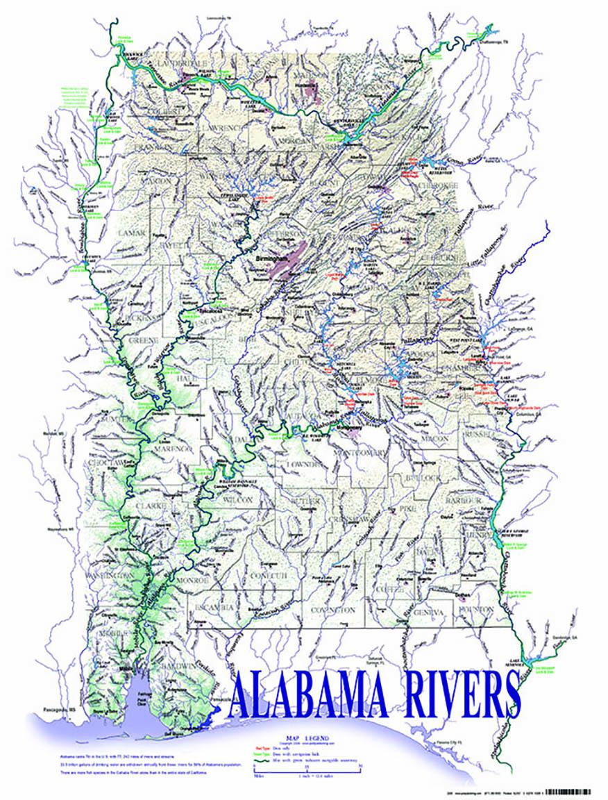 Alabama Rivers and Creeks Map|Rivers and Creeks of Alabama|Tombigbee ...