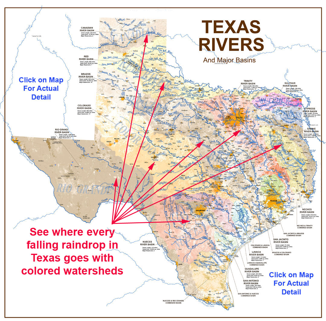 Detail Map Of Texas.Texas Rivers Map Rivers Of Texas