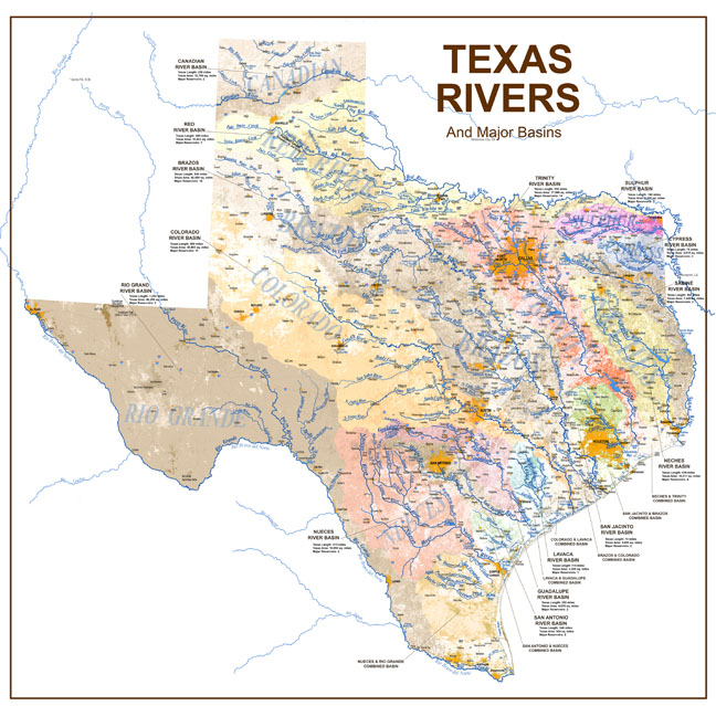 Texas Map With Lakes